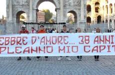 """Striscione al Colosseo per Totti: """"38 anni di febbre d'amore e di te…"""" (FOTO)"""