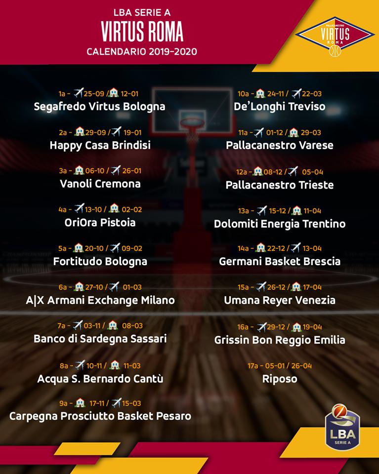 As Roma Calendario.Virtus Roma Il Calendario 2019 2020 Esordio In Trasferta A