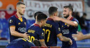 Esultanza Roma maglia blu Europa League
