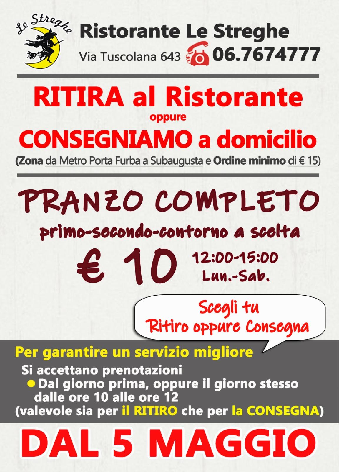 Ristorante Le Streghe, Speciale Covid: Ritiro/Consegna Pranzo a 10 Euro
